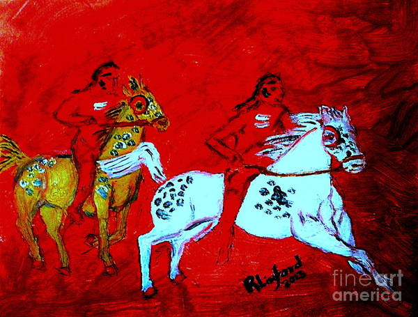 Alcoholism Painting - Native American War Party 1 by Ricardo Richard W Linford