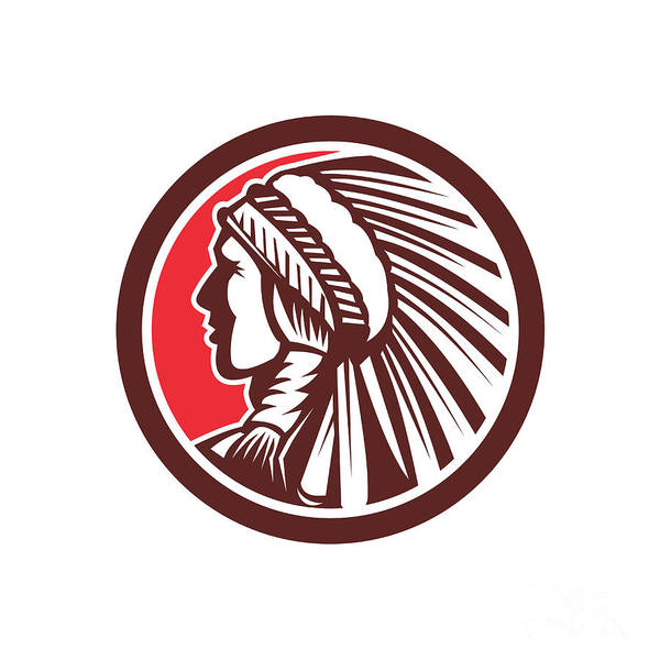 Indian Brave Digital Art - Native American Warrior Chief Circle by Aloysius Patrimonio