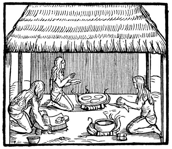 Painting - Native Americans Making Bread by Granger
