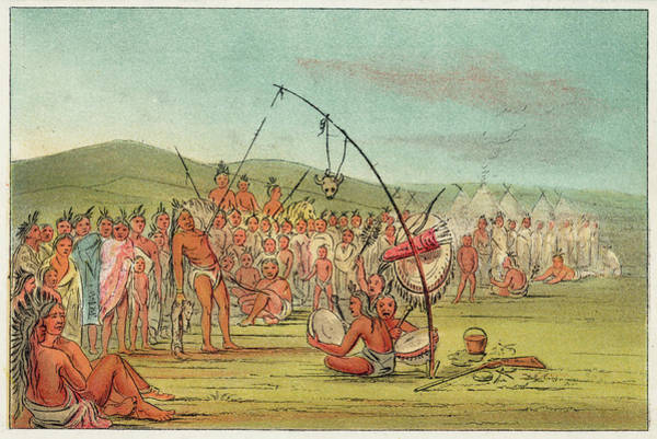 Wall Art - Drawing - Native Americans The Sioux Ordeal by Mary Evans Picture Library