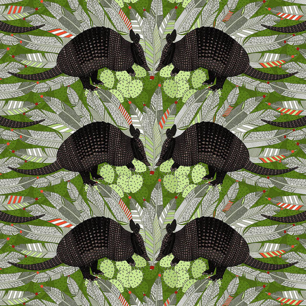 Wall Art - Painting - Native Armadillos Green by MGL Meiklejohn Graphics Licensing