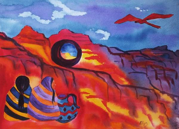 Native American Blanket Painting - Native Women At Window Rock by Ellen Levinson