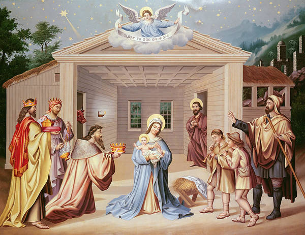Wall Art - Painting - Nativity by American School