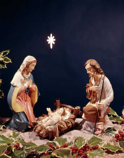 Bethlehem Wall Art - Photograph - Nativity Figurines Baby Jesus by Vintage Images