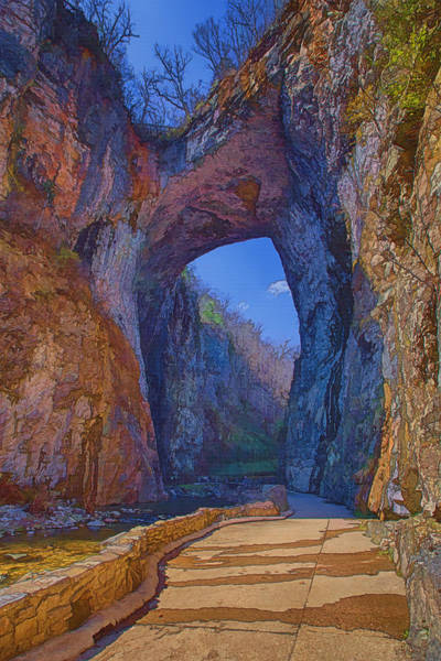 Stone Arch Photograph - Natural Bridge Virginia by Joan Carroll