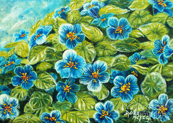 Painting - Nature Blue Flowers Original Painting Oil On Canvas by Drinka Mercep