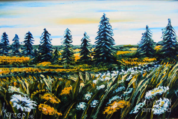 Painting - Nature Landscape Field Flowers Pines Art  by Drinka Mercep