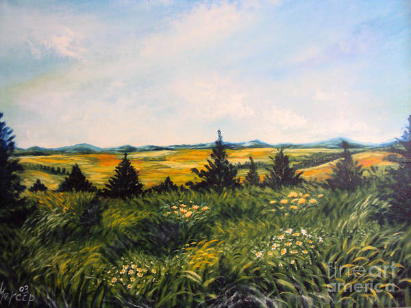 Painting - Nature Landscape Sky Mountains Pines Grass And Flowers by Drinka Mercep