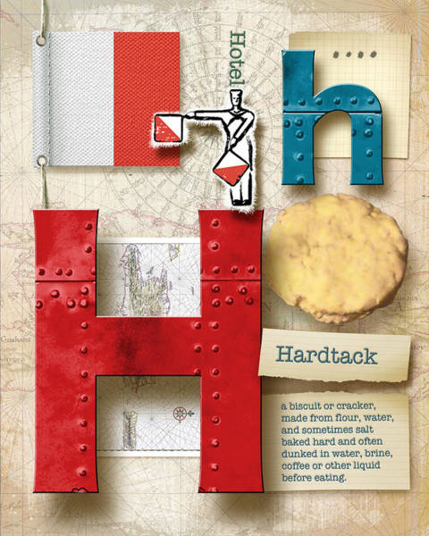 Definition Digital Art - Navy Alphabet Nautical Letter H by Vanessa Bates