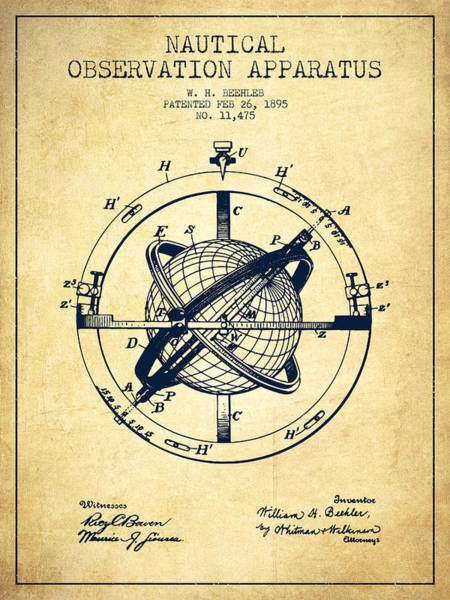 Nautical Observation Apparatus Patent From 1895 - Vintage Art Print