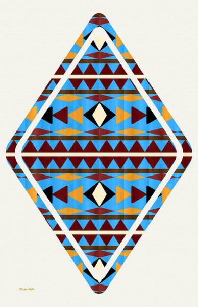 Wall Art - Mixed Media - Navajo Blue Pattern Art by Christina Rollo