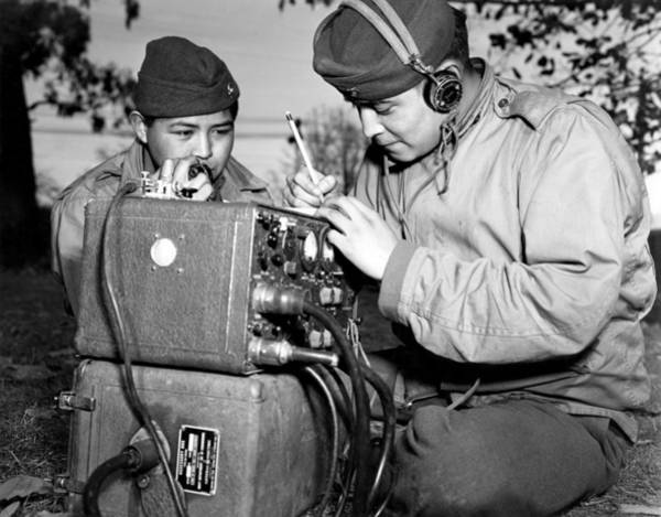 Code Talkers Photograph - Navajo Code Talkers Training by Everett
