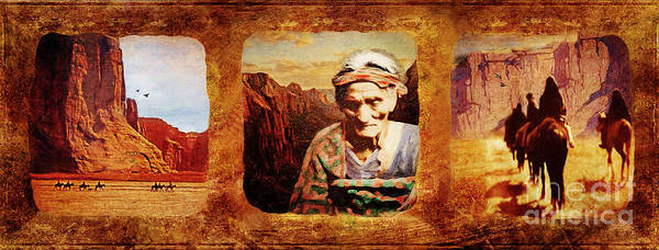 Southwest Digital Art - Navajo Triptych  by Lianne Schneider