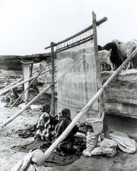 Weaving Photograph - Navajo Weavers, C.1914 Bw Photo by William J. Carpenter