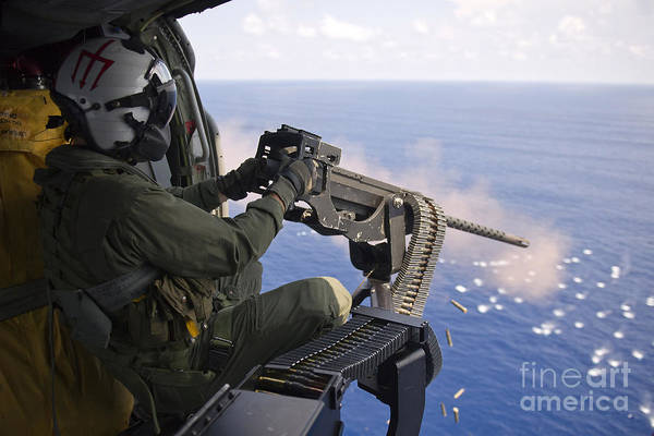 Mounted Shooting Photograph - Naval Aircrewman Fires A .50-caliber by Stocktrek Images