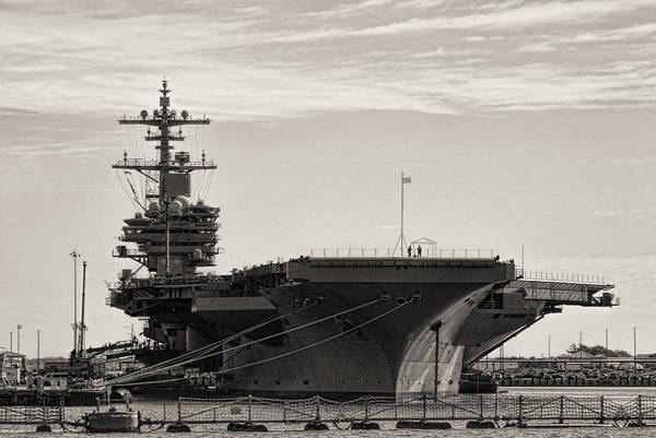Norfolk Naval Station Wall Art - Photograph - Naval Ship Norfolk Virginia Usa In Black And White by Kathy Clark