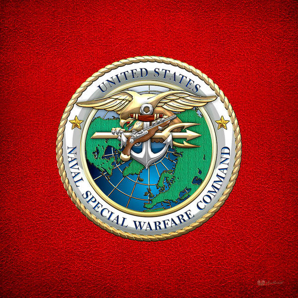 Digital Art - Naval Special Warfare Command - N S W C - Emblem On Red by Serge Averbukh