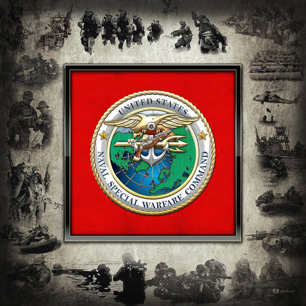 Digital Art - Naval Special Warfare Command - N S W C - Emblem  Over Navy Seals Collage by Serge Averbukh