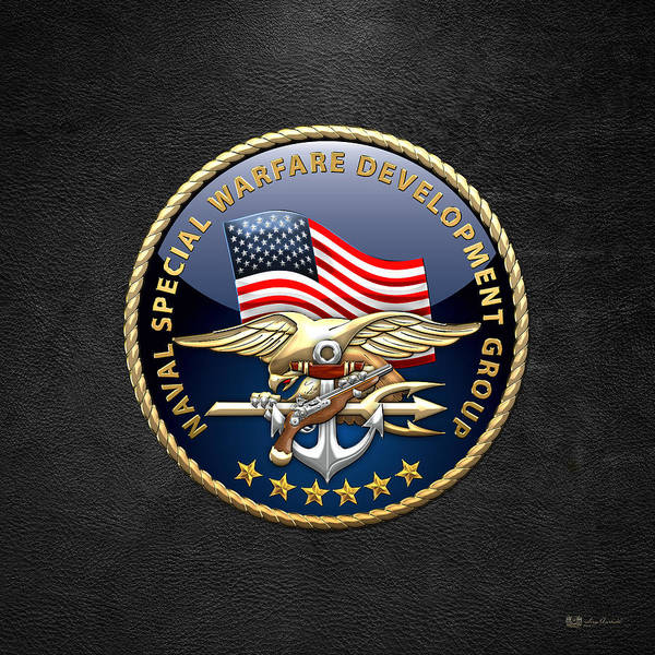 Digital Art - Naval Special Warfare Development Group - Devgru - Emblem On Black by Serge Averbukh