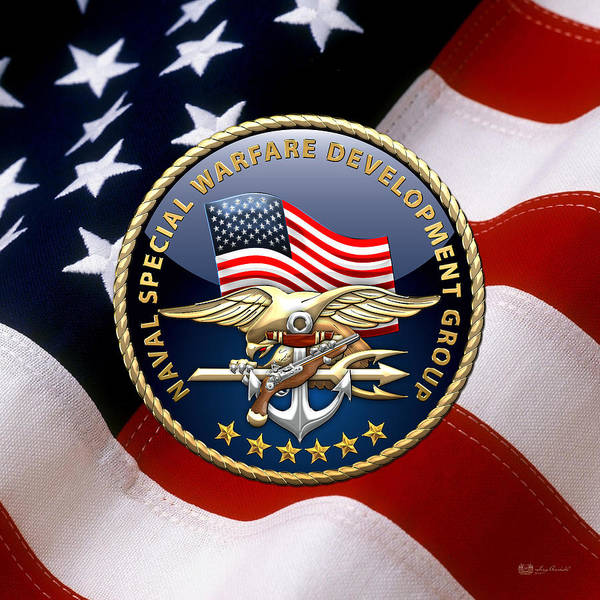Digital Art - Naval Special Warfare Development Group - D E V G R U - Emblem Over U. S. Flag by Serge Averbukh