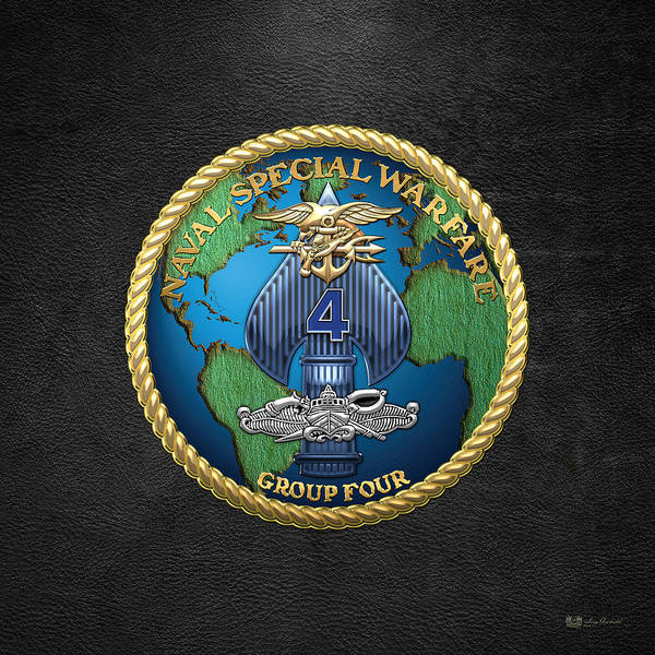 Digital Art - Naval Special Warfare Group Four - N S W G-4 - On Black by Serge Averbukh