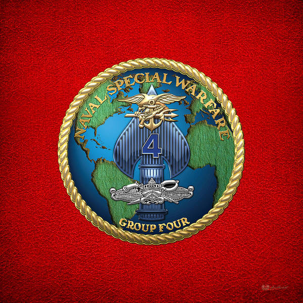 Digital Art - Naval Special Warfare Group Four - N S W G-4 - On Red by Serge Averbukh