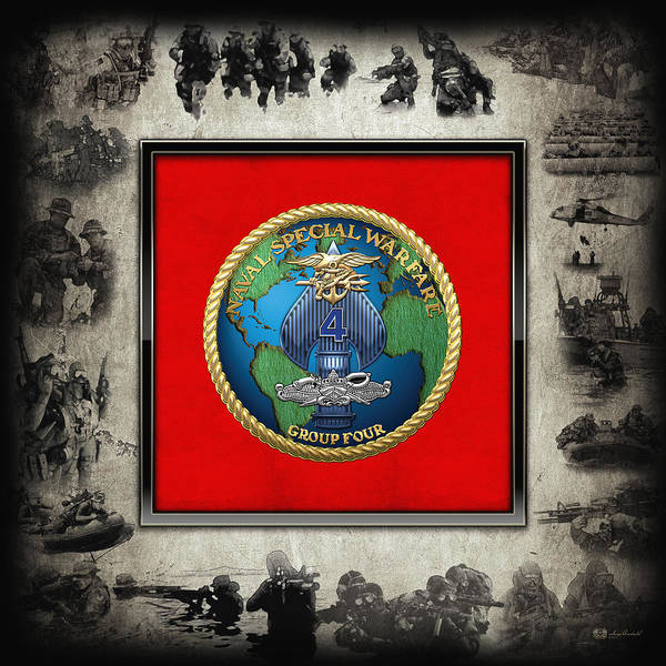 Digital Art - Naval Special Warfare Group Four - N S W G-4 - Over Navy S E A Ls Collage by Serge Averbukh