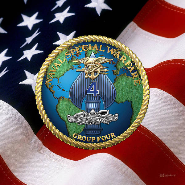 Digital Art - Naval Special Warfare Group Four - N S W G-4 - Over U. S. Flag by Serge Averbukh