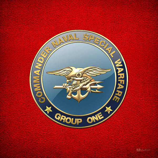 Digital Art - Naval Special Warfare Group One - N S W G-1 - Emblem On Red by Serge Averbukh
