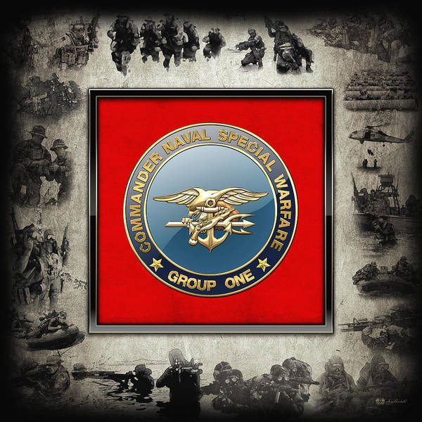 Digital Art - Naval Special Warfare Group One - N S W G-1 - Emblem Over Navy S E A Ls Collage by Serge Averbukh
