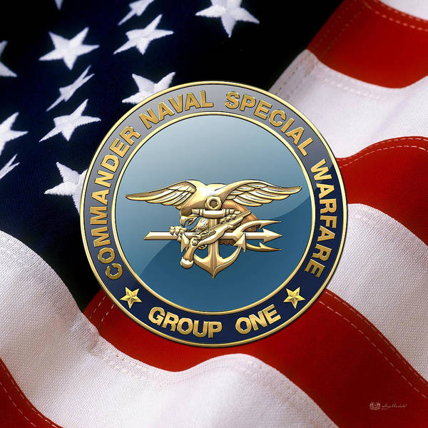 Digital Art - Naval Special Warfare Group One - N S W G-1 - Emblem Over U. S .flag by Serge Averbukh