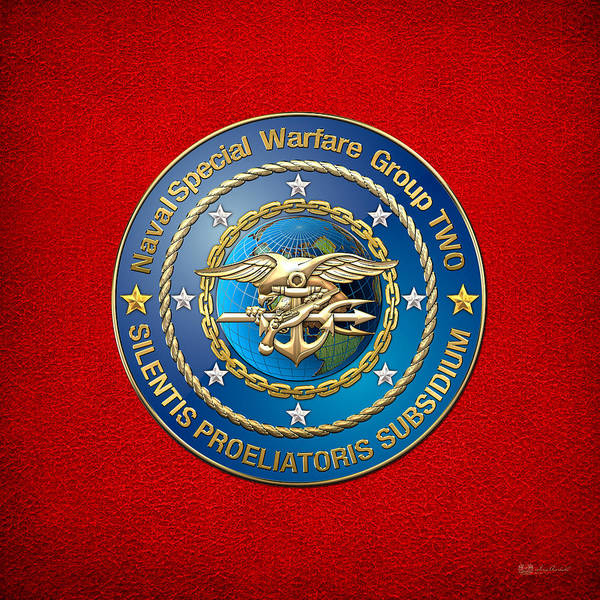 Digital Art - Naval Special Warfare Group Two - N S W G-2 - On Red by Serge Averbukh