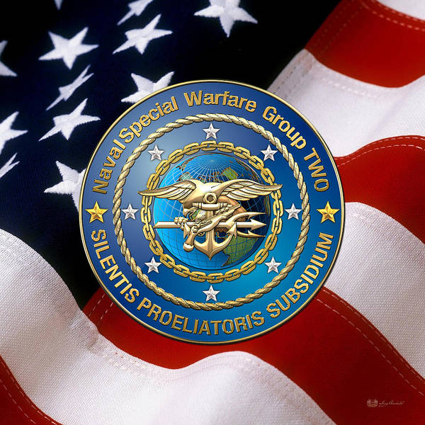 Digital Art - Naval Special Warfare Group Two - N S W G-2 - Over U. S. Flag by Serge Averbukh