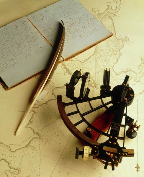 Falmouth Wall Art - Photograph - Navigational Sextant On A Historical Map by Ed Young/science Photo Library