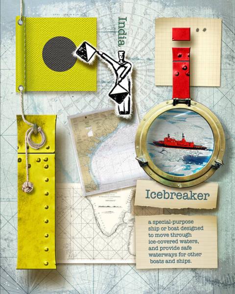 Usn Digital Art - Navy Alphabet Nautical Letter I by Vanessa Bates