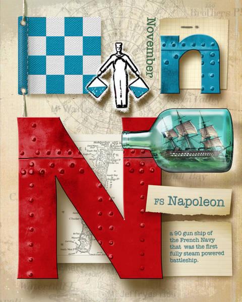 Usn Digital Art - Navy Alphabet Nautical Letter N by Vanessa Bates