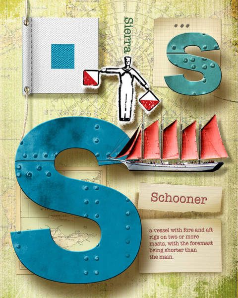 Definition Digital Art - Navy Alphabet Nautical Letter S by Vanessa Bates