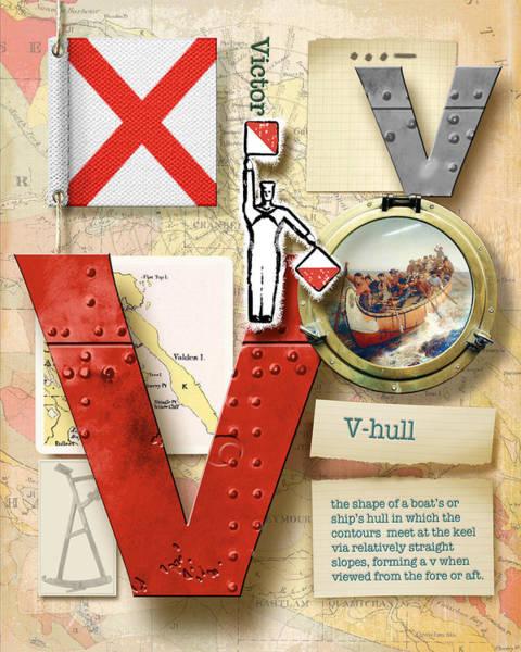 Usn Digital Art - Navy Alphabet Nautical Letter V by Vanessa Bates