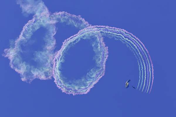Photograph - Navy Seal Leap Frogs Rainbow Smoke by Donna Corless