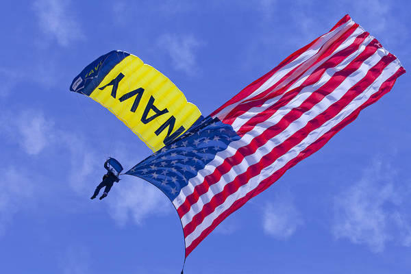 Photograph - Navy Seal Leap Frogs Us Flag by Donna Corless