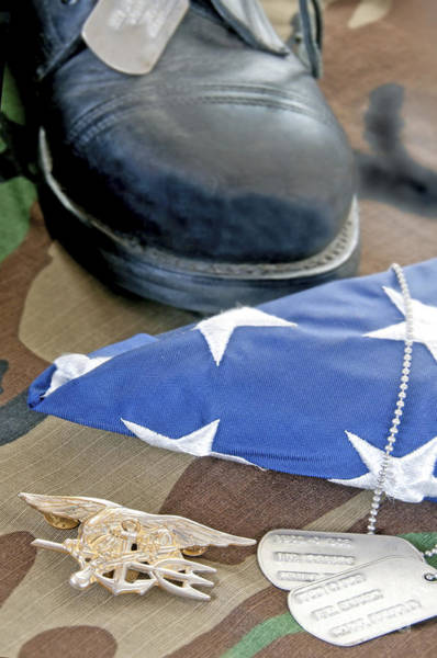 Navy Seal Trident On Camoflauge Art Print