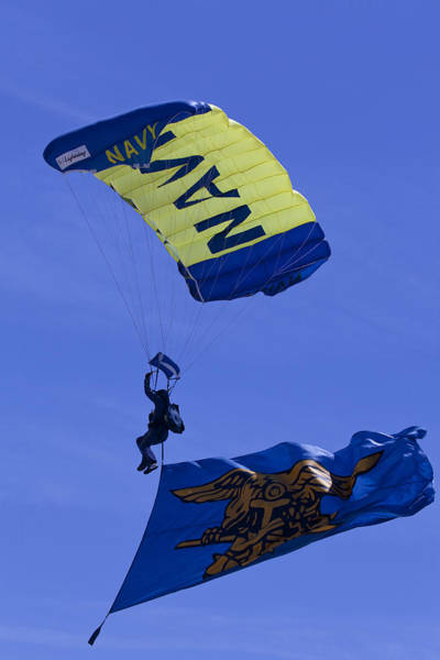 Photograph - Navy Seals Leap Frogs Navy Seals Flag by Donna Corless