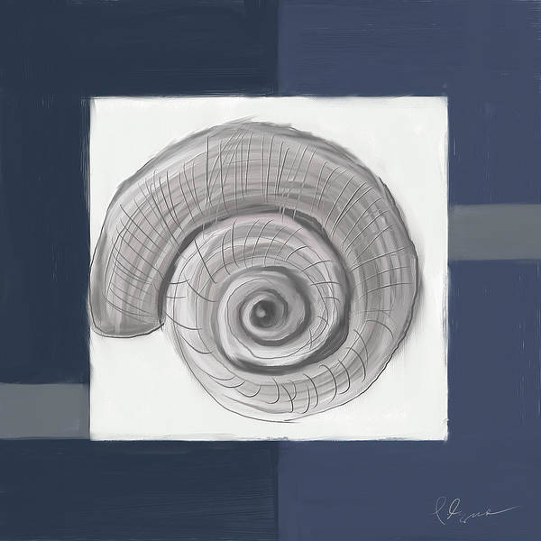 Wall Art - Painting - Navy Seashells II - Navy And Gray Art by Lourry Legarde