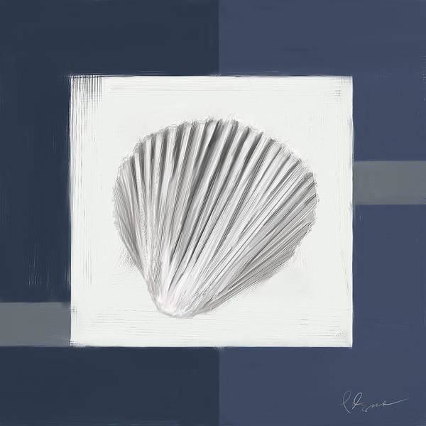 Wall Art - Painting - Navy Seashells V - Navy And Gray Art by Lourry Legarde