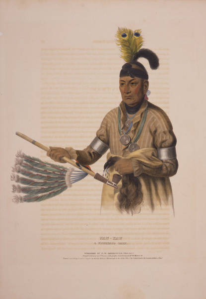 Wall Art - Drawing - Naw-kaw, A Winnebago Chief  Drawn, Printed & Coloured by Litz Collection