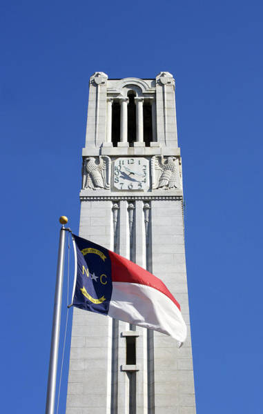 Nc State Wall Art - Photograph - N. C. State Memorial Bell Tower And State Flag by Orange Cat Art