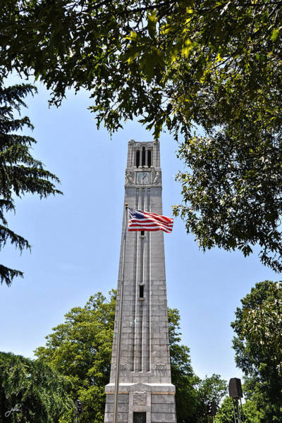 Photograph - Nc State Memorial Bell Tower And Us Flag by Paulette B Wright