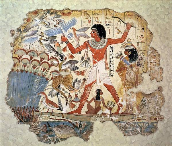 Wall Art - Photograph - Nebamun Hunting In The Marshes With His Wife And Daughter, Part Of A Wall Painting by Egyptian 18th Dynasty