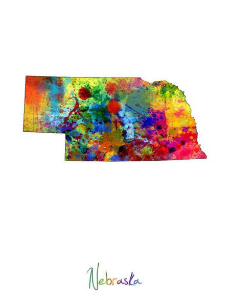 Wall Art - Digital Art - Nebraska Map by Michael Tompsett