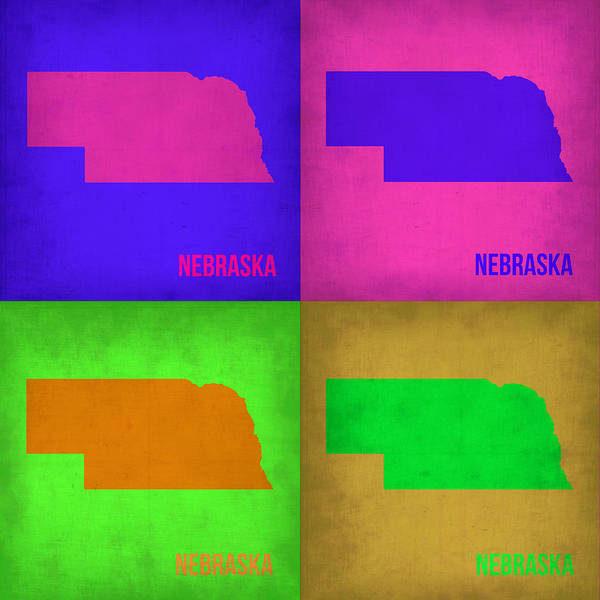 Wall Art - Painting - Nebraska Pop Art Map 1 by Naxart Studio